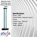 55W Ultraviolet Sterilization Lamp Fixture With RC & Timer