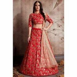 Stitched Wedding Wear Jacquard Bridal Lehenga, 2.2 Meters