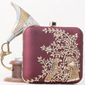 Buckle Closure Embroidered Box Clutch