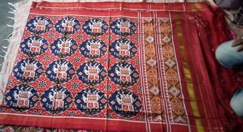 5.5 m (separate blouse piece) Banglore silk Patola Saree chabdi with hathi