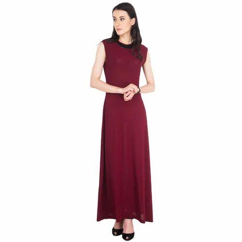 ae223d5440b Georgette Party Wear Ladies Western Round Neck Dress