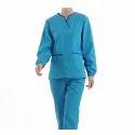 Pure Cotton Blue Hospital Uniform, Size: Medium