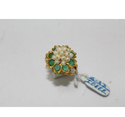 Real Green Emerald Gemstone Pearls US Gold Ring