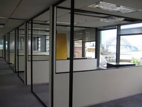 Silver Aluminium Partition, For Office, Thickness: Standard