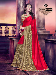 Indian Women Red And Gold Silk Saree