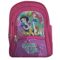 Polyester Pink Kids Printed School Backpack