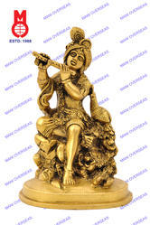 Krishna Sitting W/ Peacock On Rock Statues