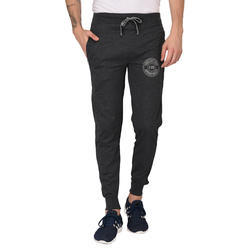 Finger's Men's Melange Black Cotton Track Pant/Active Pants Joggers