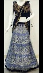 Blue Party Wear Designer CROP top( Saree Style)