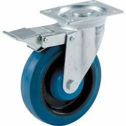 Swivel With Brake Rubber Wheel