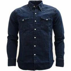 Mens Denim Full Sleeves Blue Shirt, Size: S-XL