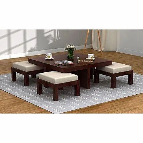 Walnut Finish Wooden Coffee Table
