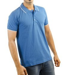 Mens Sky Blue Colour Collar Neck T Shirts