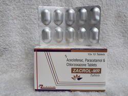 Paracetamol 325 mg  Acelofenac 100 mg Chlorzoxazone 250 mg