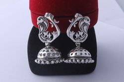 Silver Oxidized Colour 925 Sterling Silver Oxidized Silver Plated Jhumkas