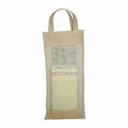 Jute Plain Mesh Window Tote Bag, Capacity: One Bottle, Size/Dimension: 45 H X 20 W X 10 CM