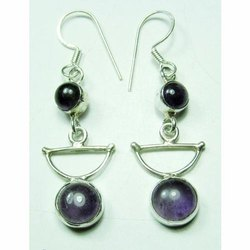 Amethyst 925 Sterling Silver Well Carved Earrings