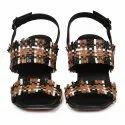 Party Wear Tan Women Block Heel Leather Sandals, Size: 35-41