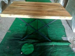 Awesome Metal And Wood Foldable Dining Table