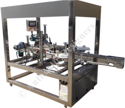 Double Head L Shape Label Pasting Machine For Mono Carton