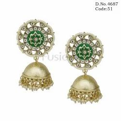 Meenakari Kundan Jhumka Earrings