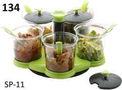 5 in 1 Multipurpose Dining Achar Jars & Stand,Container Pickle Plastic Storage Jar