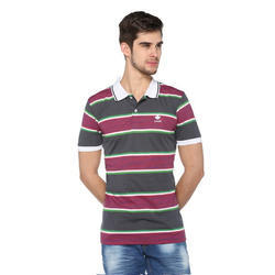 Casual Mens Striped Polo T-Shirt