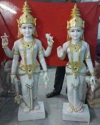 Pure White Marble Vishnu Laxmi Statue