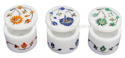 White Gift Round Marble Inlay Boxes, for Home