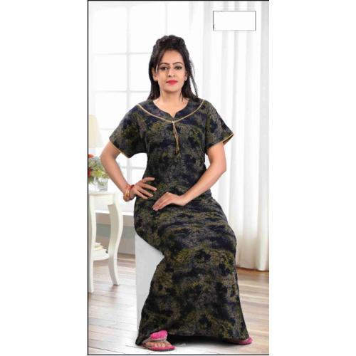 994e1921e Ladies Cotton Short Sleeve Printed Nighty