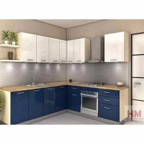 l shape pvc modular kitchen at rs 1150square feet