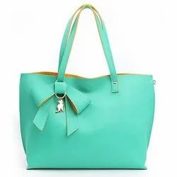 Green Pu Leather Ladies Shoulder Bag, For Office