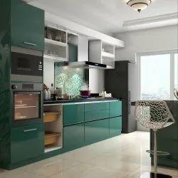 Wooden Green and White Designer Kitchen Cabinet