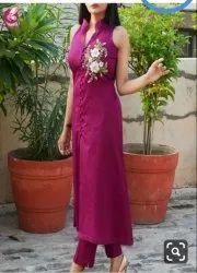 Pink Collar Neck Designer kurti