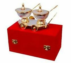 Silver & Gold Plated Trolley Set 8x4 & Bowl 3 Diameter