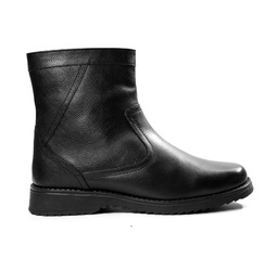 Mens Leather Formal Stylish Black Boots, Size: 40-45