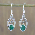 925 Sterling Solid Silver Jewelry Corundum Emerald Stone Earring We-4111