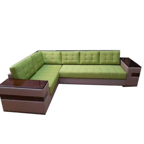 Wooden And Rexine L Shape Sofa