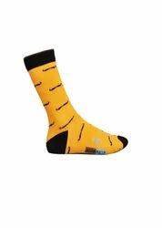 Adam Phillip Yellow And Black men's casual socks adamc-1-5, Size: Free Size
