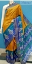 Multicolor Casual Wear Block Printed Zari Border Tussar Silk Saree