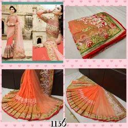 Designer Net Saree, 5.5 M (separate Blouse Piece)