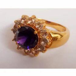 Gold Plated Brass Gemstones Ring