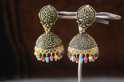 Black Oxidized Designer Golden Jhumka