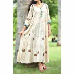 Pure Cotton Off White Printed Maxi Dress