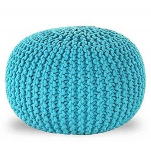Pink And Green And Black Cotton And Jute And Denim Knitted Poufs Amazing Turquoise Knitted Pouf