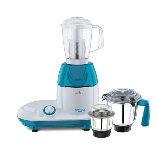 White And Blue Bajaj Twister Fruity 750-Watts Mixer Grinder With 3 Jars