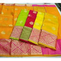 Pink And Green Party Wear, Festive Wear Dharmavaram Silk Saree