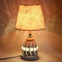 Decorative Stylish Table Lamp Bedside Nightstand Metal Desk Light Shade for Bedroom, Living Room