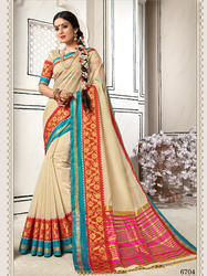 Blooming Off-White Colored Party Wear Chanderi Cotton Saree with Blouse Piece