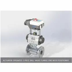 Actuator Operated 2 Piece Ball Valve Flange End With Positioner